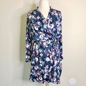 Emaline Blue Floral Faux Wrap Dress